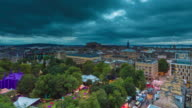 Wide Timelapse of Nightfall at Edinburgh Fringe  Festival