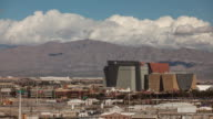 Wide time-lapse of World Market Center and Gass Peak, Las Vegas, Nevada.