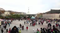 Wide view of crowds at the Everland Resort operated by Cheil Industries Inc in Yongin Gyeonggi Province South Korea on Friday Nov 14 Visitors queue...