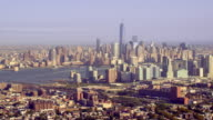 Wide view of downtown Manhattan and Hudson River