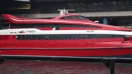 Wide view of Macau Ferry Pier in Hong Kong China on Wednesday Nov 19 Medium close view of the front side of a Turbo Jet operated by Shun Tak China...