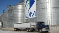 Wideshots of ADM logo on the side Grain Elevators ADM signage of the side of large Grain Silos Midland Co Facilities on November 12 2013 in Niantic...