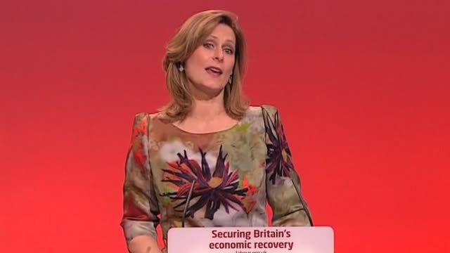 Wife of British Prime Minister Sarah Brown introduces her husband as her 'hero' during Labour party annual conference Brighton 27 September 2009