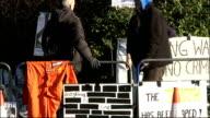 Demonstrators outside court ENGLAND London Belmarsh Magistrates Court EXT GVs Demonstrators
