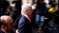 Wikileaks founder Julian Assange arrives at court ENGLAND London High Court EXT Various shots of Julian Assange along through press scrum as arriving...