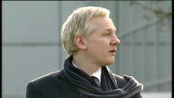WikiLeaks founder to be extradited to Sweden Julian Assange statement ENGLAND London Belmarsh Magistrates' Court EXT Julian Assange out of court...