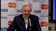 WikiLeaks suspends publication of classified files due to 'financial blockade' Julian Assange press conference ENGLAND London The Frontline Club...