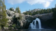 WS Wilderness waterfall cascading into pool in mountains, wild & scenic Tuolumne River, Yosemite National Park, California