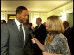 Will Smith and Thandie Newton interviews at Prince's Trust lunch ENGLAND London Dorchester Hotel INT Will Smith interview SOT Are you working today I...