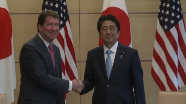 William Hagerty the new US Ambassador to Japan meets with Japan's Prime Minister Shinzo Abe at Abe's official residence in Tokyo