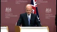 William Hague and Kevin Rudd joint AUKMIN press conference ENGLAND London INT William Hague MP Philip Hammond Kevin Rudd and Stephen Smith into press...