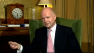 William Hague interview on conflict in Syria ENGLAND London Foreign Office INT William Hague MP interview SOT escalating horror and murder in Syria/...