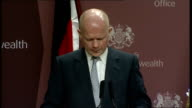 William Hague press conference with German Foreign Minister ENGLAND London Westminster FCO INT William Hague MP press conference SOT Britain and...