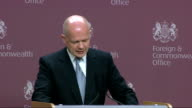 William Hague speech on strengthening Britain's consular diplomacy ENGLAND London Foreign Commonwealth Office INT William Hague MP speech SOT check...