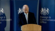 William Hague speech to the Foreign and Commonwealth Office ENGLAND London Foreign and Commonwealth Office INT William Hague MP arrival at podium and...