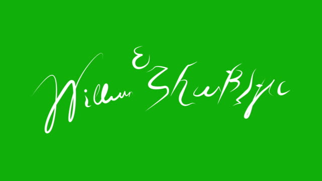 William Shakespeare-Signature-Animation auf grünen Bildschirm