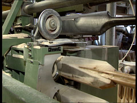 Willow tree disease Essex Witham Stuart Surridge INT CMS Worker sanding bat CMS Bats turning on machine CMS Ditto CMS Worker picks up bat CMS Linseen...