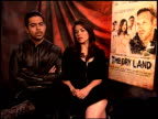 Wilmer Valderrama and America Ferrera on what it means to them when a film also contains an important message at the 'The Dry Land' Junket at Los...