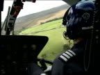 Wiltshire Avebury EXT GVs Avebury stone circle Silbury Hill INT HELICOPTER CBV Pilot at controls as flying over Silbury Hill AIR VIEW Silbury Hill GV...