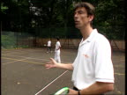 Day 8 Tim Henman's progress ITN ENGLAND Surrey Cobham Reed's School MS Johnny Delgado playing tennis at net CMS Ditto BV Ditto CMS Johnny Delgado...