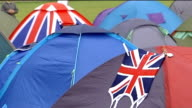 Rafael Nadal fit to play quarter final ENGLAND London Wimbledon Andy Murray tennis fans chanting SOT Tents in makeshift campsite put up by fans...