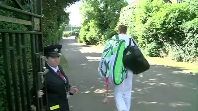 Andy Murray arrival and Judy Murray interview ENGLAND London Wimbledon EXT Andy Murray out of car collects his bags and through gates Judy Murray...