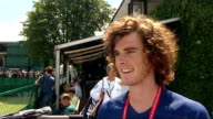 Andy Murray wins first round match Jamie Murray interview SOT saying Andy puts pressure on himself to do well