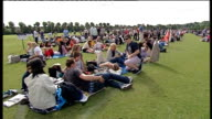 Queues for Andy Murray match ENGLAND London Wimbledon EXT Various general view of people queuing including tents