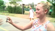 Andy Murray arrival ENGLAND London Wimbledon EXT Player along through gates / JoWilfried Tsonga having photo taken by fans / car reversing / GVs Andy...