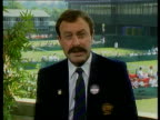 Wimbledon interview with John Newcombe ENGLAND London Wimbledon / ITN 2way CMS John Newcombe intvwd SOF views on David Wheaton / predictions / Agassi...