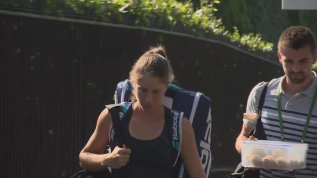 Johanna Konta and Andy Murray through to quarter finals ENGLAND London Wumbledon EXT Tennis fans along Vox pops Johann Konta along Martina...