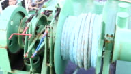Winch with rope on the ferry