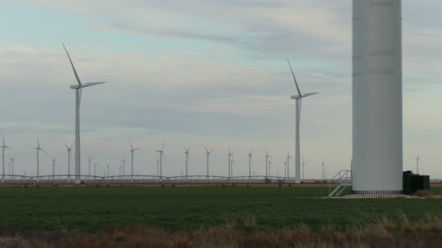 Wind farm turbines spin above agriculture fields in Texas
