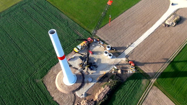 A wind generator installation site Aerial view