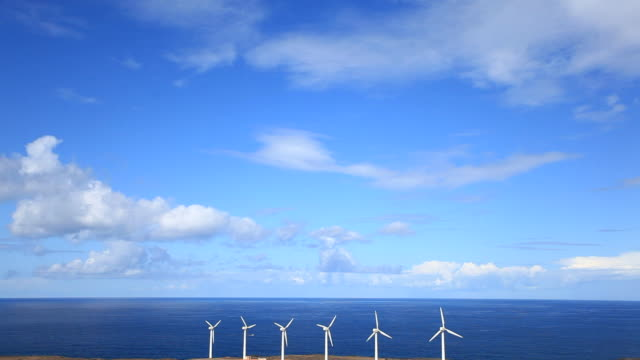 Wind Turbine and Ocean, Green Energy, HD Video