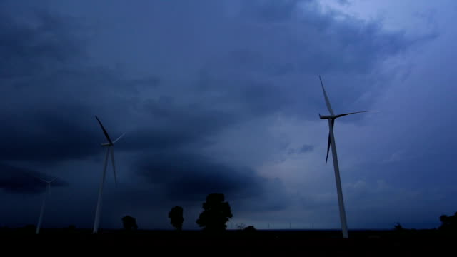 Wind turbine and thunder storm.