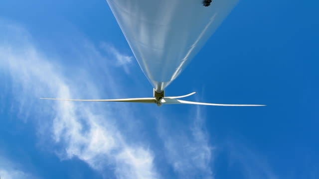 Wind turbine straight up front view.