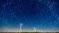 T/L WS Wind turbine under the sky with star trail / Hebei, China