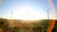 Wind turbines farm by sunrise