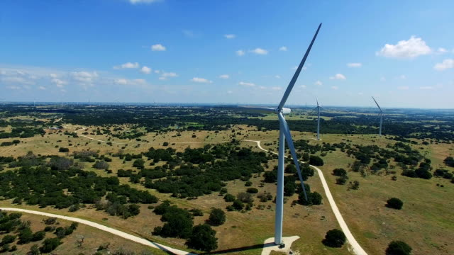 Wind Turbines Farm outside of Goldthwaite , Texas near Lampasses and Austin TX