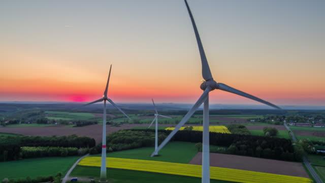 AERIAL: Wind Turbines - Landscape in Twilight