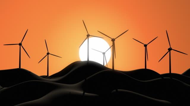 CGI Wind turbines on hills against sky at sunrise