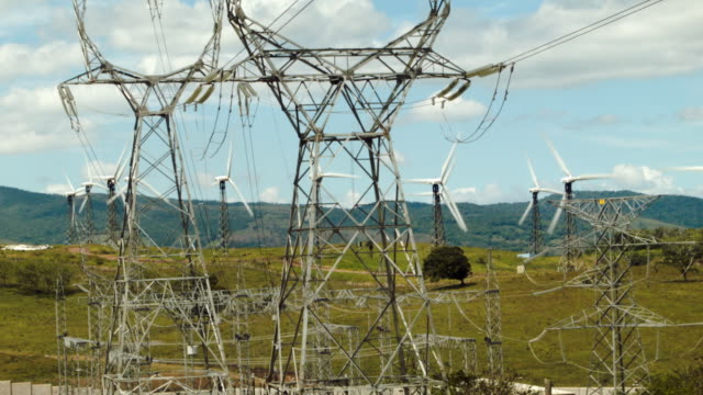 Wind turbines run by the Costa Rican Electricity Institute are seen along a ridge line as the power company has managed to produce all of the...