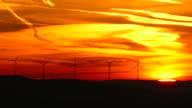 Wind turbins in morning light before sunrise