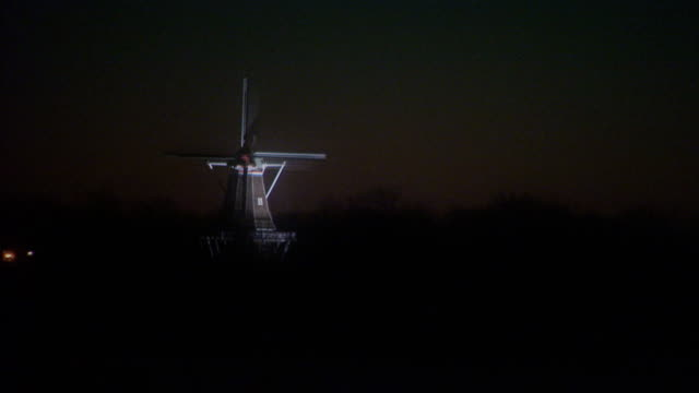 Windmill at night, lit up
