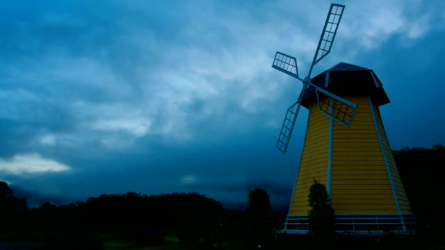 Windmill with fog