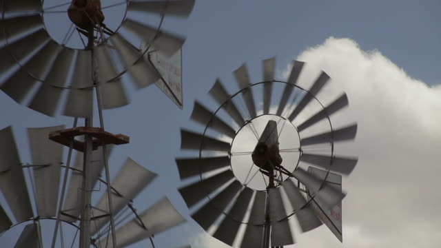 Windmills, blue sky, cluds, Lubbock, TX, USA