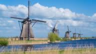 Windmills, Kinderdijk, UNESCO World Heritage Site, Netherlands, Europe - Time lapse