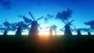 Windmills Landscape at Night