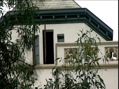 Window open in turret of Chateau Marmont hotel Sunset Strip Los Angeles